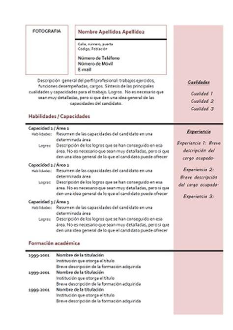 exemple de cv combinado en espagnol modele  rose