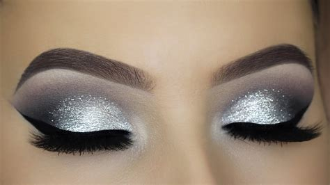 classic silver glitter eye makeup tutorial youtube