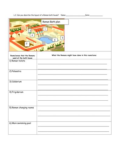 roman baths lesson with differentiated activities by