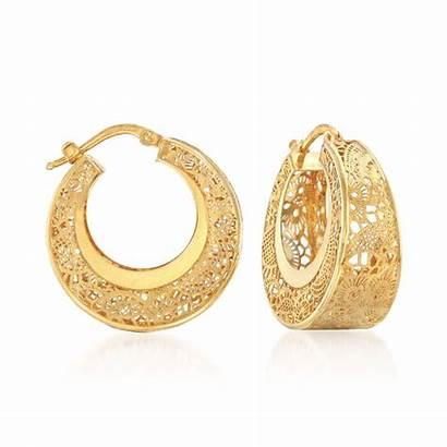 Gold Earrings Hoop Italian Filigree 14kt Yellow