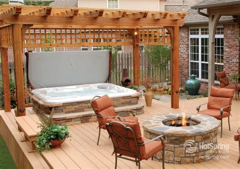 decks with tubs and pits beautifully coordinate hot tub and fire pit this would be great for cozy outdoor entertaining