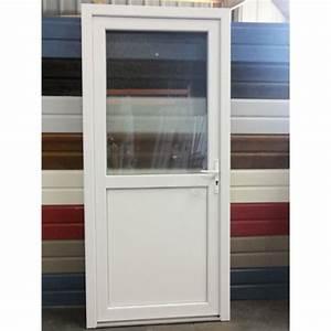 porte de service pvc 1 2 vitree 205x80 porte pvc mastock With porte de garage avec porte intérieure vitrée pas cher