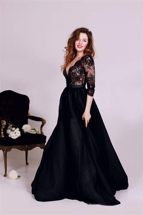 loving  cathytelle black lace deep  neck wedding