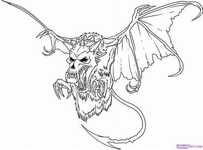 Coloring Evil Pages Skull Adult Dragon Draw