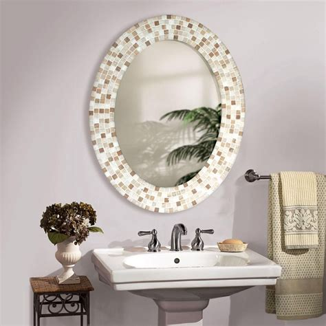 How To Frame An Oval Bathroom Mirror by Travertine Mosaic Oval Bathroom Mirror Bathroom