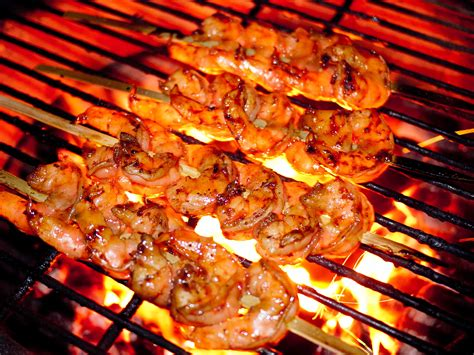 shrimp on the grill surf turf food fire