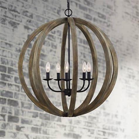 Wood Orbit Chandelier by Feiss Allier 26 Quot Wide Weathered Oak Wood Pendant Light