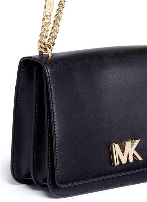michael kors mott large curb chain leather shoulder bag  black lyst