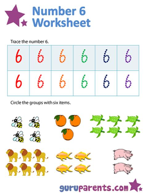 number 6 worksheets guruparents
