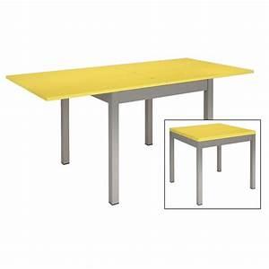 Table A Rallonge Pas Cher : table de cuisine metal et bois jaune ~ Teatrodelosmanantiales.com Idées de Décoration