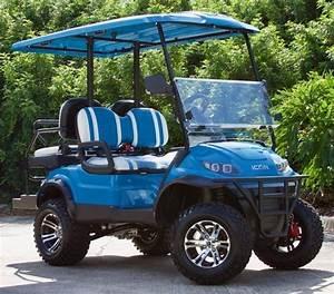 2019 Caribbean Blue Icon I40l Golf Cart With Two Tone Seats  U2013 Bayside Custom Carts
