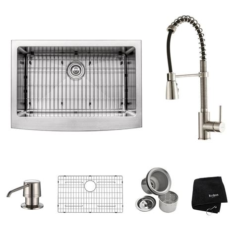 all in one kitchen sinks kraus all in one farmhouse apron front stainless steel 30 7423