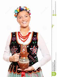 Traditional Polish girl stock photo. Image of pitcher ...