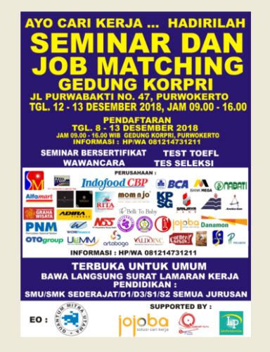 seminar  job matching terbesar  purwokerto  info