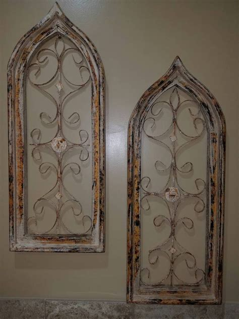metal and wood wall decor arched window wall decor farmhouse character metal