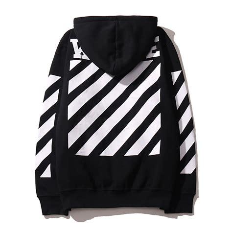 white mens pullover stripe offset print hoodies