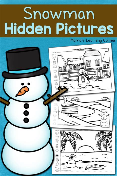 snowman hidden pictures printables mamas learning corner