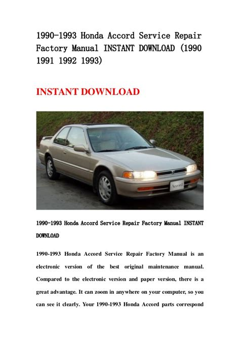 free online auto service manuals 1991 honda accord on board diagnostic system 1993 honda accord service manual free download