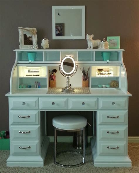White Vanity Makeup Station roll top desk makeover by chelsea lloyd vanity makeup