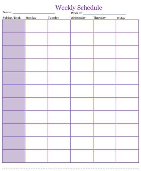 homeschool schedule templates word docs