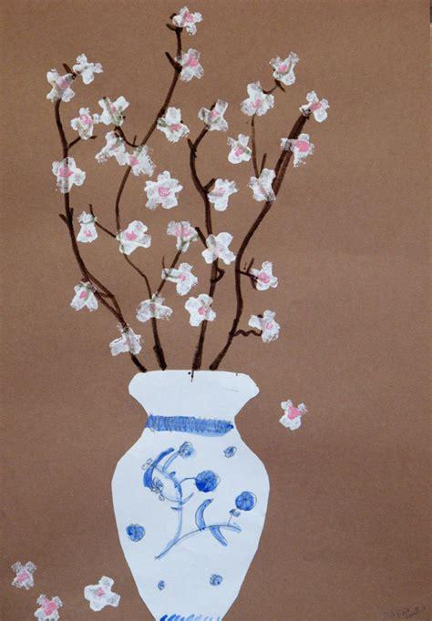 os art room  grade ming vases  cherry blossoms