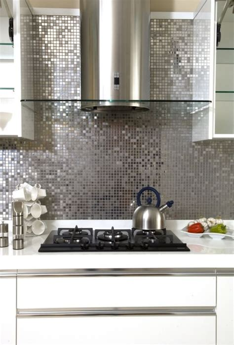 shiny silver mosaic   splash   kitchen