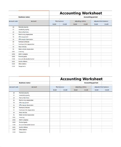 sle accounting worksheet template 8 free documents