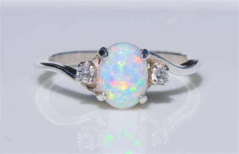 Opel Ring silver opal ring white opal ring pink opal ring blue opal