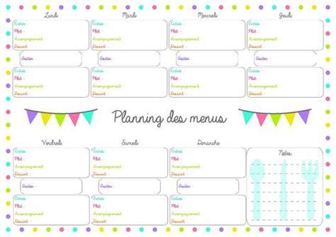 planning repas de semaine 224 imprimer vierge menus de la