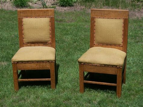 Antique Set Of 2 Arts & Crafts Chairs Mission Style