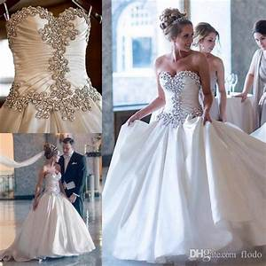 discount bling crystal satin plus size wedding dresses With plus size bling wedding dresses