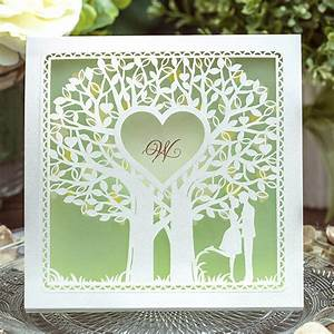 100 pcs lot elegant white lover under tree wedding With wedding cards with trees