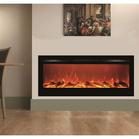 built in electric fireplace 50 quot black built in recessed wall mounted heater electric