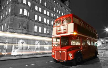 Bus London Night Road Lights Blur England