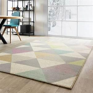 Tapis Forme Geometrique : tapis moderne de salon multicolore pastel aux formes g om triques ~ Teatrodelosmanantiales.com Idées de Décoration