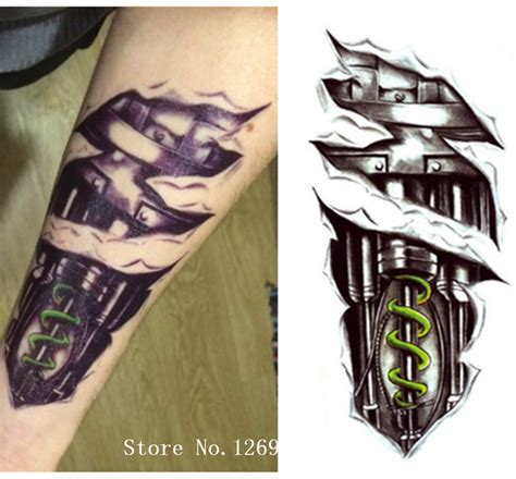 cm  machine robot arm men tattoo temporary