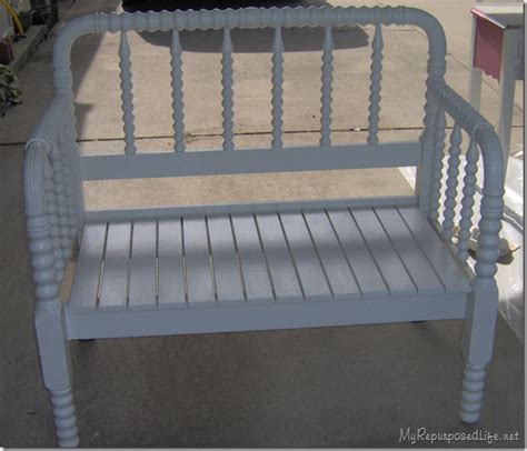 white headboard bench spool bed made into a bench