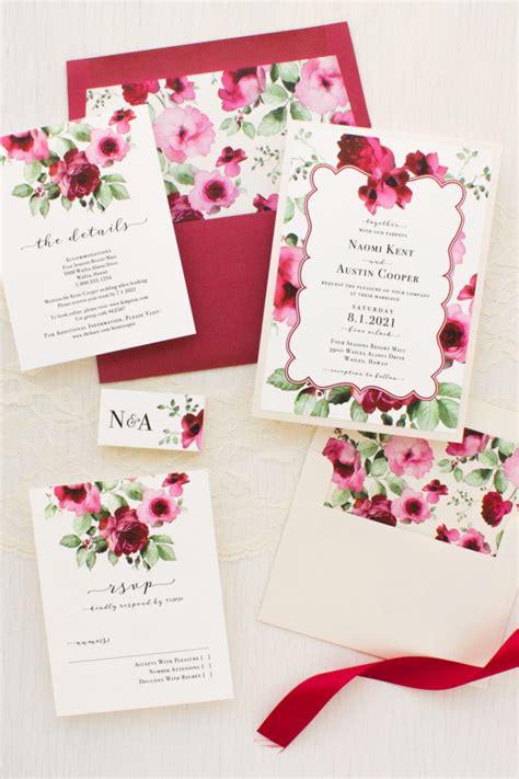 Crimson Floral Wedding Invitations Beacon Lane Wedding