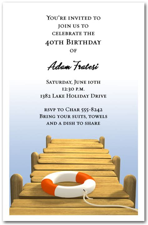 Wood Boat Dock Party  Ee  Invitations Ee   Swimming  Ee  Invitations Ee