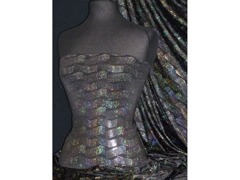 stretch foil hologram rainbow foil stretch spandex 3d space waves