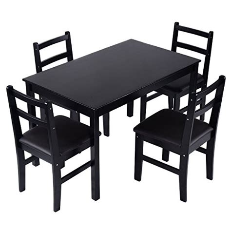 wood dining table with upholstered chairs giantex 5 pcs pine wood dining set table and 4 upholstered