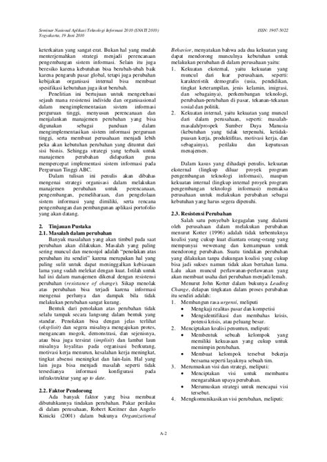 Jurnal analisa perubahan manajemen dalam implementasi siti
