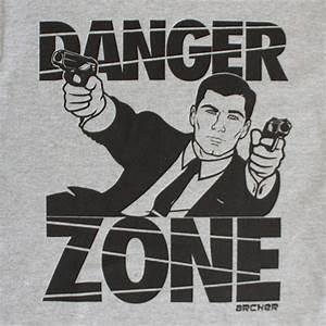 Black and Gray Archer Danger Zone Tee Shirt | TVMovieDepot.com