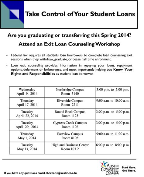 attend  student loan exit counseling workshop