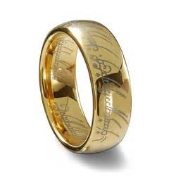 wedding band inscription gold tungsten carbide laser engraved elvish lotr ring
