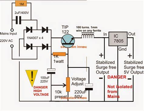 voltage stabilized transformerless power supply circuit