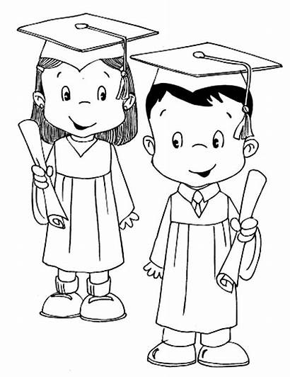 Graduation Coloring Pages Student Kindergarten Printable Drawing