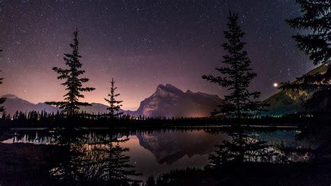 Download Sky Lake Starry Night 4k Wallpaper For Desktop