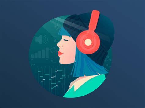 beautiful girl listening    animation
