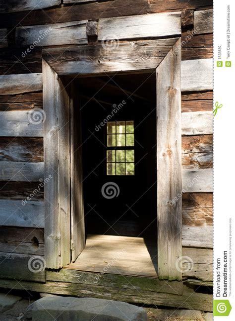 open door   rustic cabin stock photo image